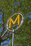 Modern Paris Metro subway sign Royalty Free Stock Images