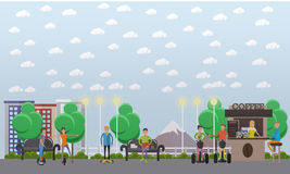 Modern park concept vector illustration in flat style Royalty Free Stock Photos