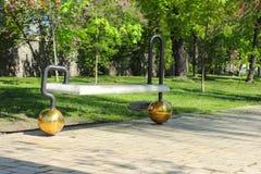 Modern park furniture. In the central recreation park named after Taras Shevchenko. Kiev stock photos