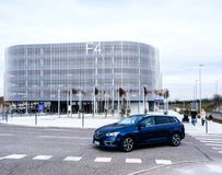 Modern parking building at EuroAirport royalty free stock photos