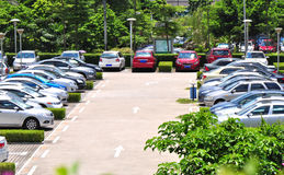 Modern parking lot. Parked cars in modern parking lot Stock Photo