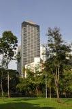 modern parkview för byggnader Royaltyfri Foto