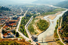 Modern part of Berat city Stock Photography