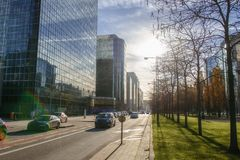 The modern part of city centre in Brussels Royalty Free Stock Photography