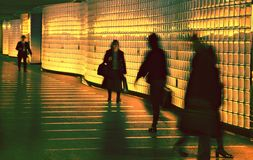 Modern Passageway. Blurred Pedestrians in Modern Passageway Royalty Free Stock Photo