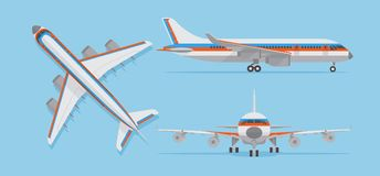 Modern passenger airplane, airliner in top, side, front view. Vector aircraft in flat style Stock Images