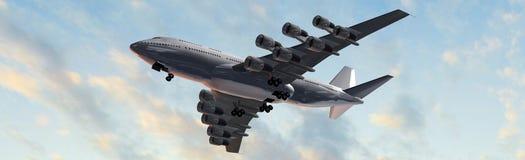 Modern Passenger airplane in flight  panorama Stock Photos