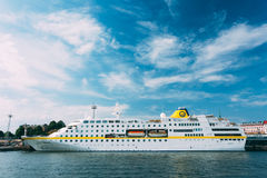 Modern passenger ferry boat Viking Line stays in Stock Photography