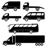 Modern passenger and freight cars silhouettes. Cars silhouettes vector collection - van, open lorry, wrecker, minibus, truck, bus Royalty Free Stock Image
