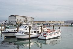 Modern passenger pleasure craft, Venice. Royalty Free Stock Photos