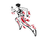 Modern Passionate Runner Silhouette In Action Logo Stock Photography