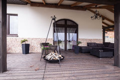 Modern patio with fireplace Royalty Free Stock Photo