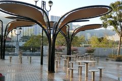 Modern Pavilion at Shatin Park Hong Kong. Shatin Park is a place for residents and tourists Stock Photo