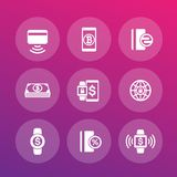 Modern payment methods icons set. Eps 10 file, easy to edit Royalty Free Stock Photo