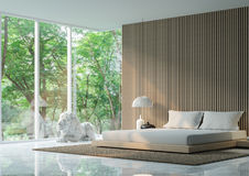 Modern peaceful Bedroom in the forest. /Modern peaceful Bedroom minimalist style marble white floor decorate wall with wood lattice,basic Simple bright and clean vector illustration