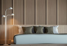 Modern peaceful bedroom interior 3D Rendering. Image. Minimalist style.There are decorate wall with wood,basic Simple Royalty Free Stock Image
