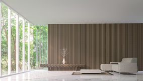 Modern peaceful living room in the forest stock illustration