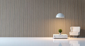 Modern peaceful living room. /Modern living room minimalist style white floor decorate wall with wood lattice,basic Simple bright and clean stock illustration