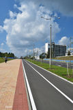Modern pedestrian and bike paths on the outskirts of Minsk. stock photos