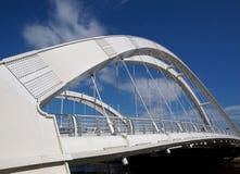 Modern Pedestrian Bridge with Double Arches Stock Photos