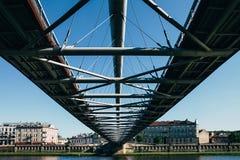 Modern pedestrian bridge in Europe Stock Photo