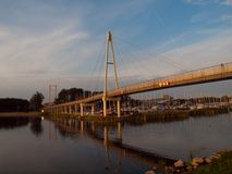 Modern pedestrian bridge in Gizycko port Stock Photo