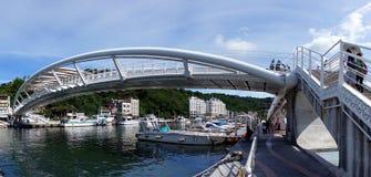 Modern Pedestrian Bridge over the Gushan Marina Stock Image