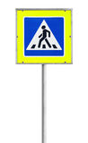 Modern pedestrian crossing road sign isolated Stock Photos