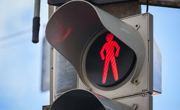 Modern pedestrian traffic lights with red signal Royalty Free Stock Images
