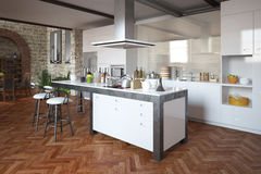 Modern penthouse with kitchen Royalty Free Stock Images