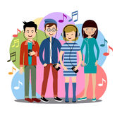Modern people listen to music on gadgets Royalty Free Stock Photography