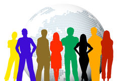 Modern people. Silhouettes of young people in front a modern globe stock illustration