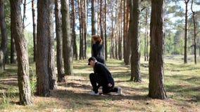Modern performers dancing in pinewood. stock video
