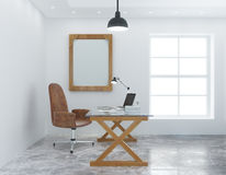 Modern personal office with white wall Royalty Free Stock Photos