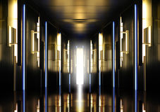 Modern perspective corridor illuminated Stock Image