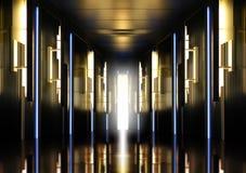 Modern perspective corridor illuminated Stock Image
