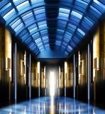 Modern perspective glass roof corridor Stock Photo