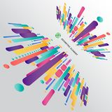 Modern perspective style abstract composition made of various ro. Unded shapes in colorful. Vector illustration Stock Photos