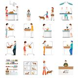 Modern pet shop and pet clinic with customer isolated on white. Modern pet shop and pet clinic with customer isolated on white, cartoon animal health care Royalty Free Stock Images