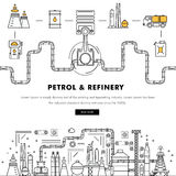 Modern petrol industry thin block line flat color icons and comp Royalty Free Stock Photo