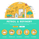 Modern petrol industry thin block line flat color icons and comp Royalty Free Stock Photography