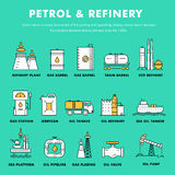 Modern petrol industry thin block line flat color icons and comp Royalty Free Stock Images