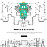 Modern petrol industry thin block line flat color icons and comp Stock Photography