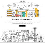 Modern petrol industry thin block line flat color icons and comp Stock Images