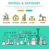 Modern petrol industry thin block line flat color icons and comp. Osition with gas station technology and development gasoline program stock illustration