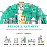 Modern petrol industry thin block line flat color icons and comp Royalty Free Stock Image