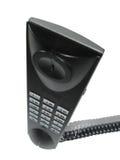 Modern phone. Isolated black modern phone, virtical Royalty Free Stock Image