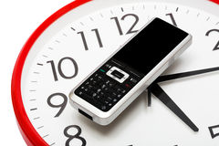 Modern phone and clock Stock Image