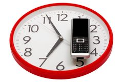 Modern phone and clock Royalty Free Stock Photos