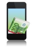 Modern phone with euro Stock Photo